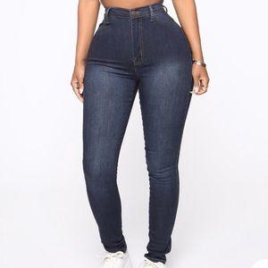 """Classic High Waist Skinny Jeans- Blue Wash"""